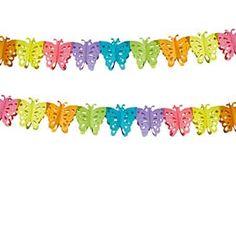 Una fiesta mariposa necesita dulzura y color! Guirnalda mariposas de www.fiestafacil.com, $1.95 / A butterfly party needs prettiness and colour! Butterfly garland from www.fiestafacil.com