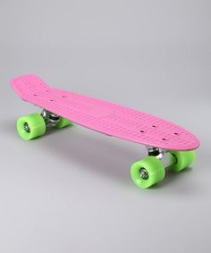 Take a look at this Pink  Green Cruiser Skateboard by Blow-Out on #zulily today!