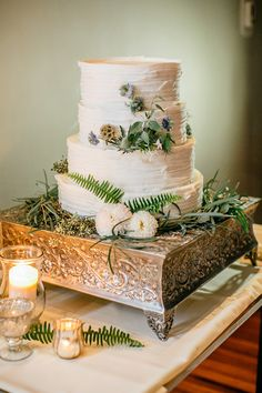 pleated wedding cake, photo by Emily Wren