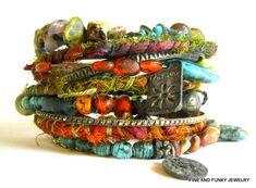Bangle Bracelets Urban Bohemian Gypsy by FineAndFunkyJewelry