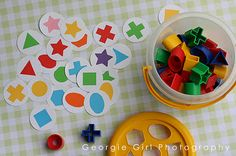How easy would this be to make-- trace shape sorter shapes onto solid paper then glue onto uniform circles-- good for sorting, matching, visual perception skills, etc!