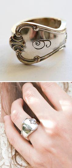 Custom initial spoon ring