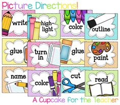 A Cupcake for the Teacher: Picture Directions {Freebie}