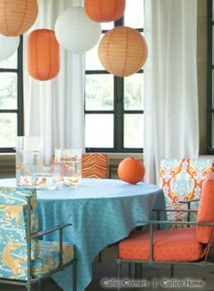 Grommet Draperies from the Tropical Breeze Fabric Collection
