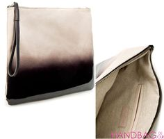 Zara Suede Graduated Color Clutch - side and inside views