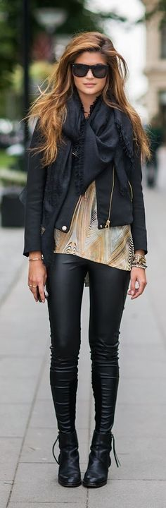 Black scarf,  black jacket, colorful silk gown and black leggings with leather shoes