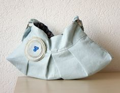 Aleina  Bag in Powder Blue Lithuanian Linen by iragrant on Etsy
