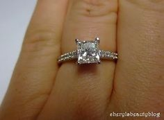 princess cut engagement rings on finger - Google Search