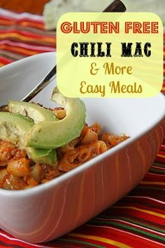 Wondering what's for dinner? This Gluten Free Chili Mac can be on your table lickety-split. Plus other Super Fast Gluten-Free Meal ideas. dinner, healthy meals, one pot meals, chili mac, hamburg helper, food, gluten dairy free, gluten free, free chili