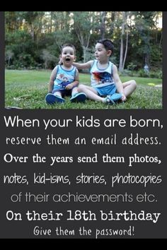 Birthday email for kids or even to do for a friend and have people email messages-- creative birthday idea