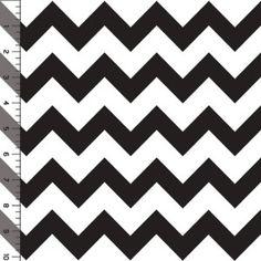 Black Chevron on White Cotton Jersey Blend Knit Fabric