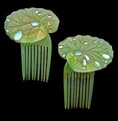 ELLA NAPER (1886-1972), Lily-pad hair combs.   Horn Moonstone