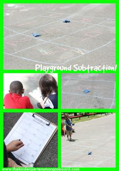Take the learning outside!  Playground subtraction!