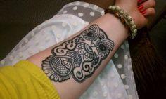 tattoo ideas, henna designs, arm tattoos, tattoo patterns, a tattoo, owls, owl tattoos, ink, owl patterns