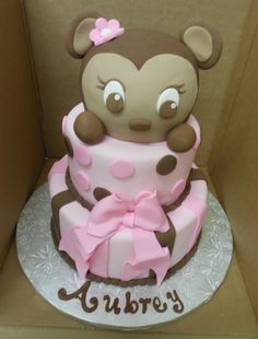 Calumet Bakery Cute baby girl monkey baby shower cake