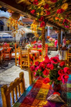 Isla de Janitzio, Michoacan, Mexico. An island in Lake Patzcuaro. With little restaurants as festively decorated as this wonderful photo shows.
