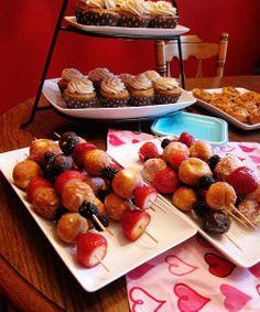 bridal brunch, doughnut, brunch idea, donut holes, food, bridal shower, fruit skewer, brunch shower, parti