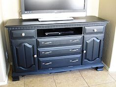 DIY- Dresser Turned Into TV Stand, A Lot Cheaper Than Buying one!Before and After Pics of a dresser I sanded down and painted black!!