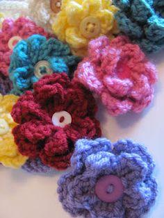 crochet flower hair clips