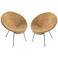 Pair of Italian 1950s Wicker Bucket Chairs