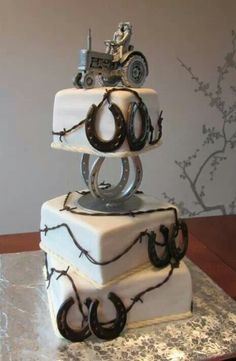 Country wedding cake! hors, idea, wedding cake designs, country weddings, barbed wire, groom cake, western weddings, country wedding cakes, cake toppers