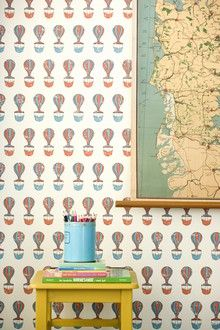 kid bedrooms, hotair, vintage colors, kid decor, girl bedrooms, boy rooms, nurseri, hot air balloons, accent walls