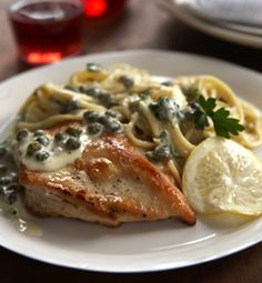 Chicken Piccata with Spaghetti