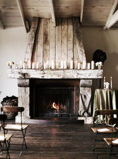 great reclaimed wood fireplace