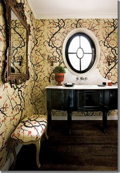 cherri, vaniti, magazine covers, window, hous, bathroom, chinoiserie chic, powder rooms, cherry blossoms