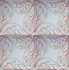 Terry Twist Block Patterns. Continuous curves design with feathers.