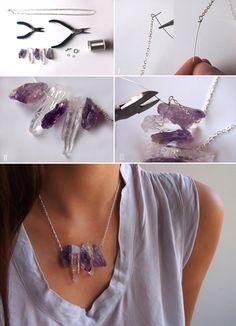 DIY Chanel Style Raw Crystal Necklace #fashion #jewelry #chanel #diy #tutorial #crystal #violet #amethyst