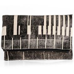 Abstract Black Fold Over Clutch by Lee Coren. No two alike!
