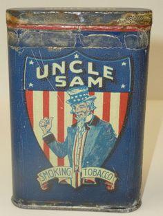 Rare 1900s Uncle Sam Patriotic Tobacco Pocket Tin