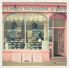 Lane's Patisserie & Cafe curtains, boutiques, pastry shop, bakeries, store fronts, pink, vintage stores, paris hotels, shop windows