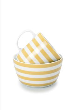 striped dishes.