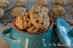 Healthy Peanut Butter Banana Chocolate Chip Cookies. Need to try.