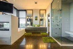 Open concept modern master bathroom