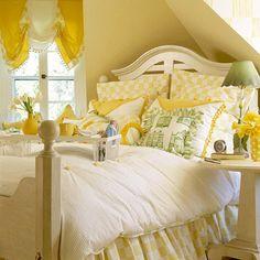 bedroom idea, yellow rooms, guest bedrooms, breakfast in bed, yellow bedroom, white bedrooms, bedside tables, yellow walls, guest rooms