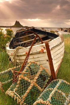 Lindisfarne Castle in the distance, Northumberland, England (by tonyreed69).