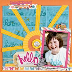 Scrapbook & Cards Today - Stamping on Layouts - Hello by Vicki Boutin