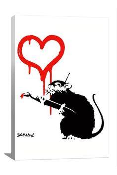 Banksy Love Rat 12in x 18in Canvas Print