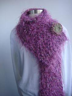 Shawl hand knit extra long with leather by YolaKohaviHandKnits