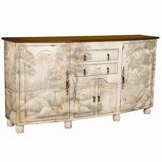 New Large Credenza by Guildmaster. $3080.25. 649533 Features: -New large credenza.-Signature antique white with subtle tonal landscape artwork.-Two drawers and two doors in center; two outer doors open to fixed shelf. Construction: -Wood construction. Color/Finish: -Top finish: Woodlands dark stain.