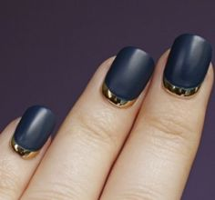 reverse french/moon manicure with matte navy and metallic gold polishes <3