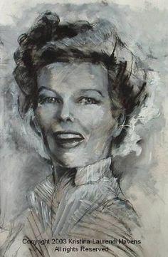 Mixed media portrait of Katharine Hepburn by Kristina Laurendi Havens