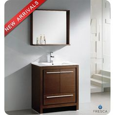 "Fresca Allier 30"" Wenge Brown Modern Bathroom Vanity with Mirror $999"