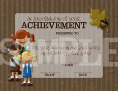 Girl Scouts Fall Product Sales Achievement OR Participation Certificate. Order from Etsy or design your own!