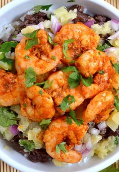 Chili Lime Shrimp Bowl! Great healthy recipe that has perfect flavor combinations! This is an inexpensive recipe as well from budget bytes.  Love it.  Keeping healthy and skinny is the best pain prevention this is.  However, relief advice from pain can be found at http://PainKickers.com/back-injuries/