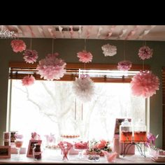 Baby girl 1st Birthday Party like the ceiling paper too!! For my friends baby shower