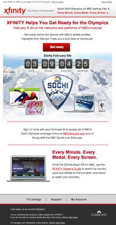 XFINITY by Comcast used a live, animated countdown clock to show the time remaining until the start of the Sochi 2014 Olympics coverage. #emailmarketing #media #olympics #countdownclock #realtime
